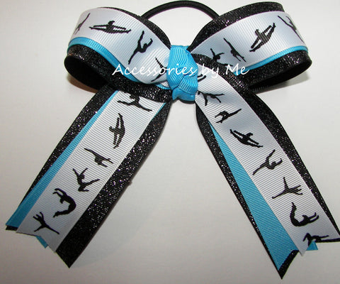 Gymnastics Aqua Blue Black Glitter Hair Bow
