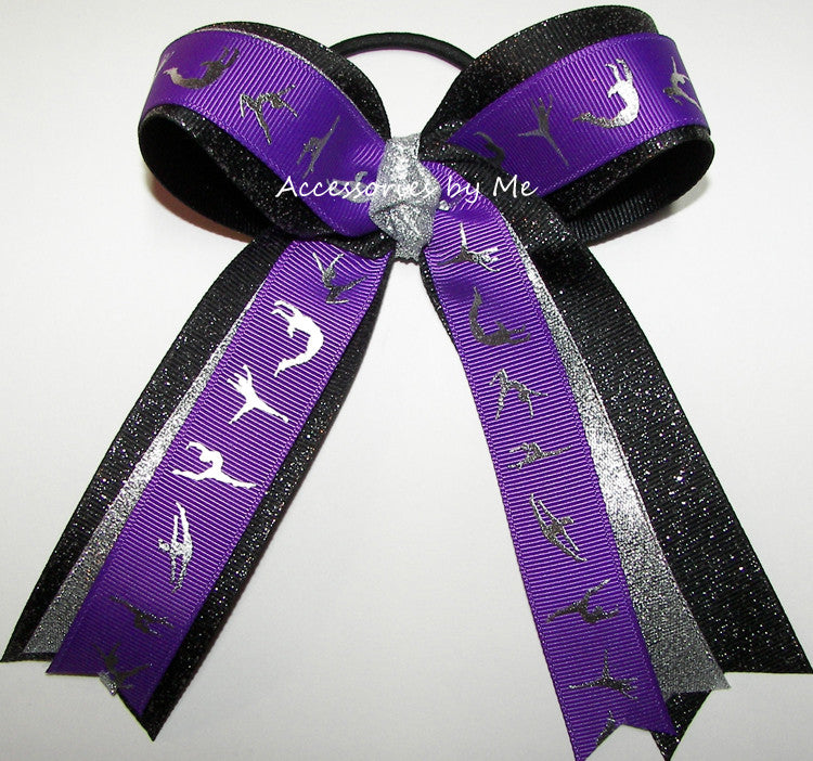 Gymnastics Purple Black Silver Ponytail Holder Hair Bow - Accessories by Me