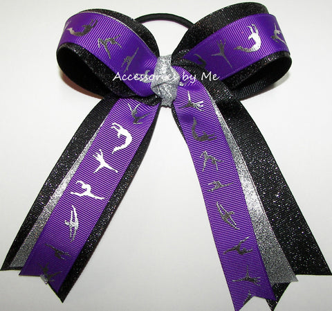Gymnastics Purple Black Silver Ponytail Holder Hair Bow