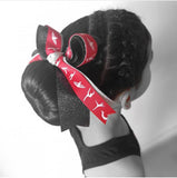 Gymnastics Red Silver Black Glitter Hair Bow