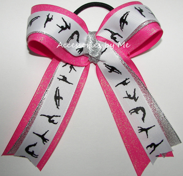 Gymnastics Glitter Hot Pink Silver Ponytail Bow