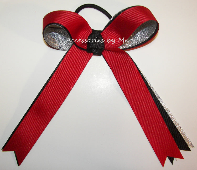 Red Black Silver Long Tails Ponytail Bow