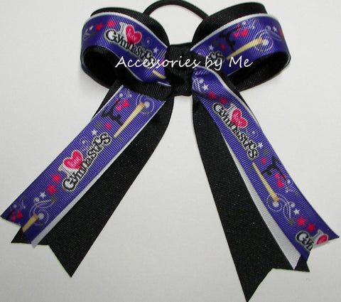 I Love Gymnastics Purple Black Ponytail Bow