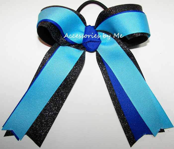 Gymnastics Turquoise Blue Black Ponytail Bow