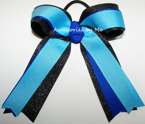 Gymnastics Turquoise Blue Black Ponytail Hair Bow