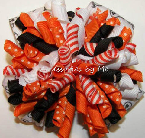 Halloween Orange White Korker Hair Bow