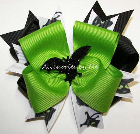 Halloween Green Black Bat Funky Hair Bow