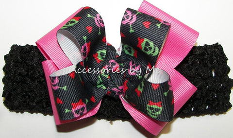 Halloween Black Hot Pink Skulls Bow Crochet Headband