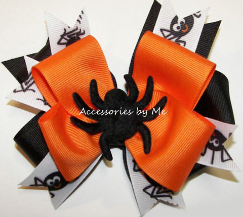 Halloween Orange Black Spider Funky Hair Bow