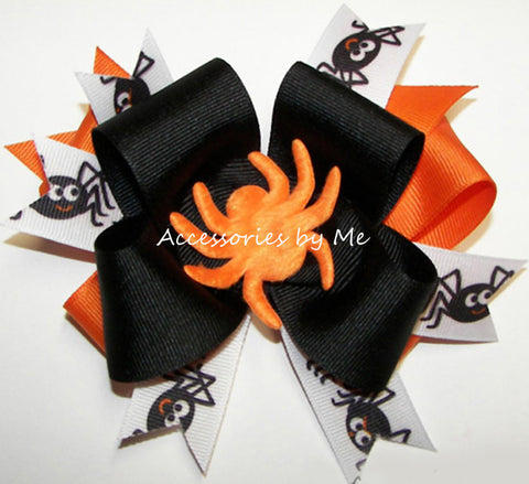Halloween Black Orange Spider Funky Hair Bow