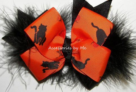 Halloween Orange Black Cat Marabou Hair Bow