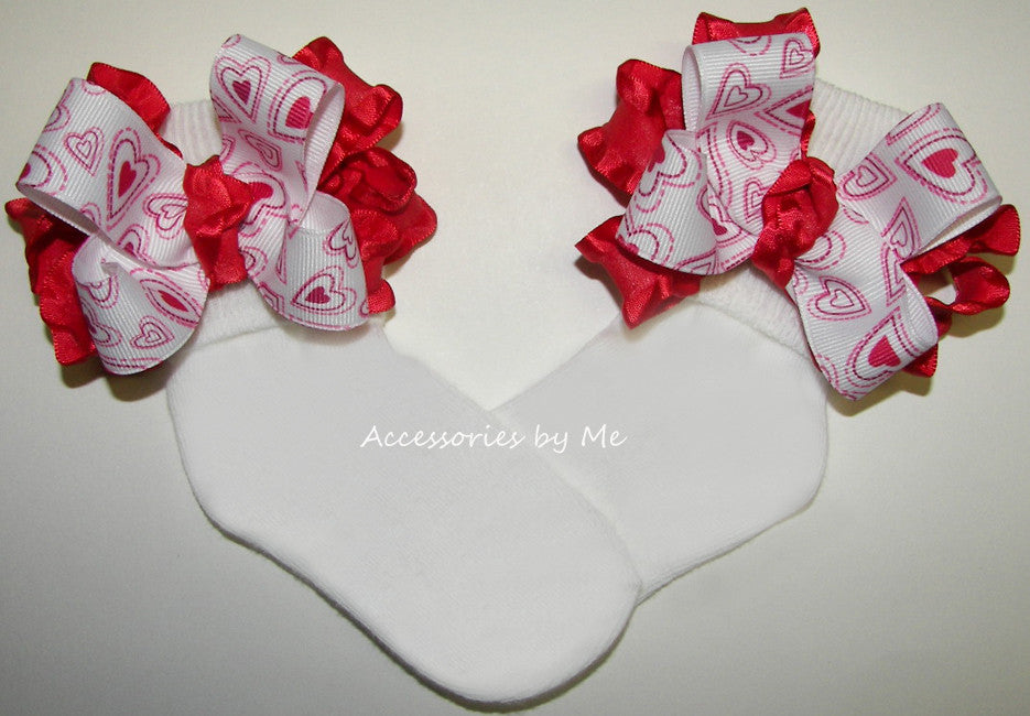 Valentine's Red Hearts Ruffle Bow Socks