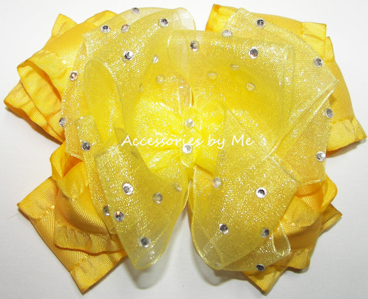 High Glitz Bright Yellow Organza Satin Hair Bow