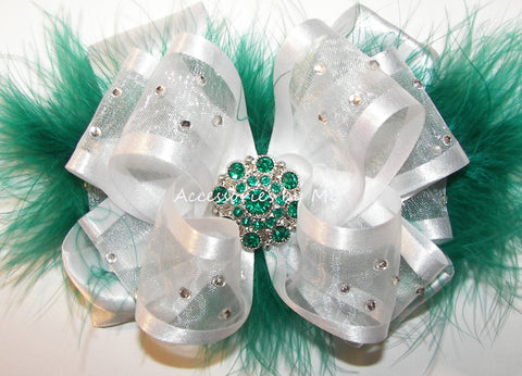 High Glitz White Green Marabou Hair Bow