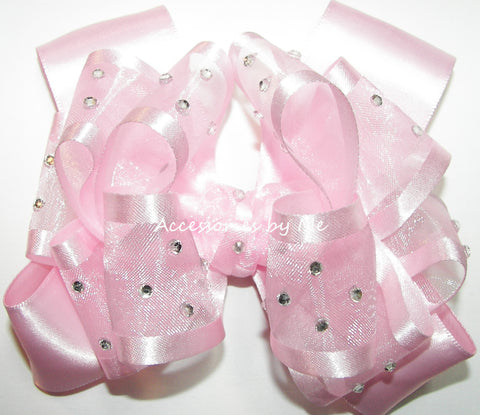 High Glitz Light Pink Organza Satin Hair Bow