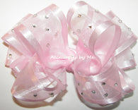 High Glitz Pink Organza Satin Hair Bow