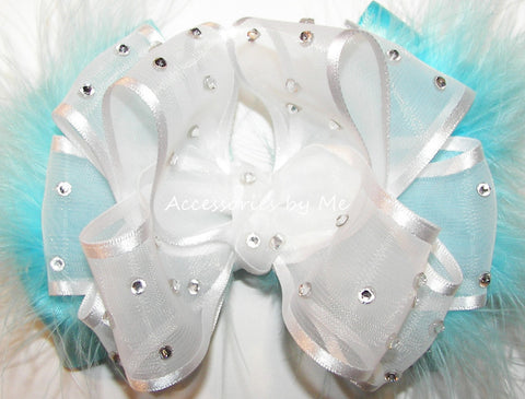 High Glitz Turquoise White Organza Marabou Hair Bow