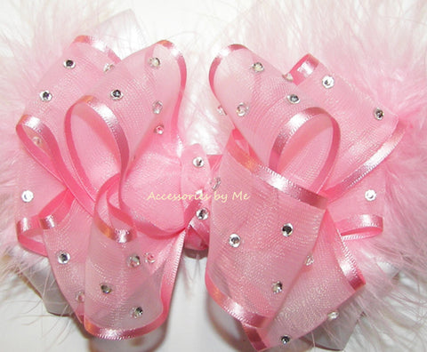 Pageant High Glitzy Light Pink White Marabou Hair Bow