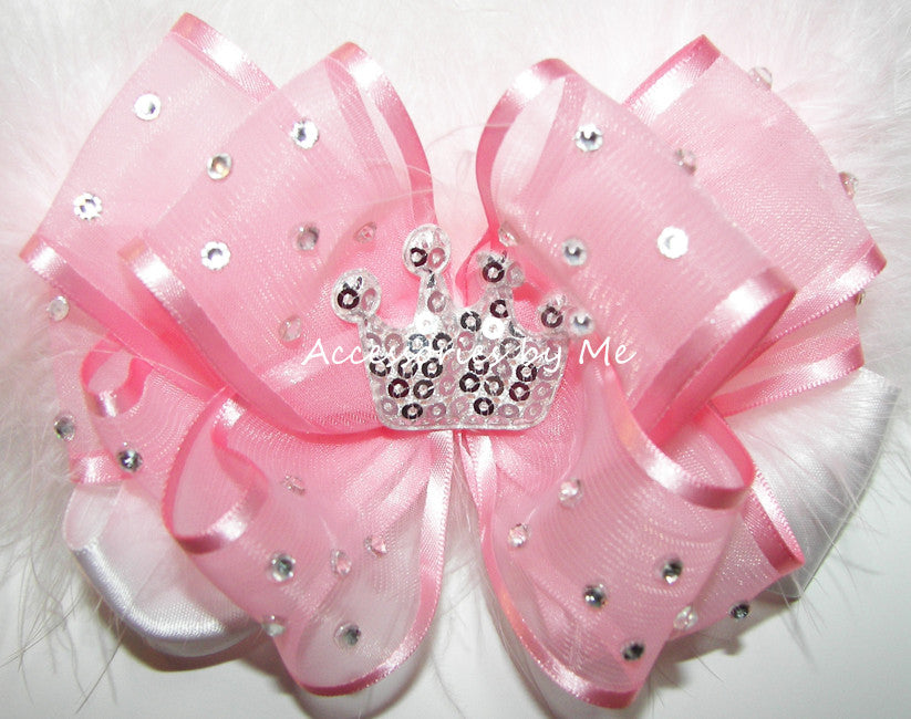 High Glitz Tiara Pageant Hair Bow