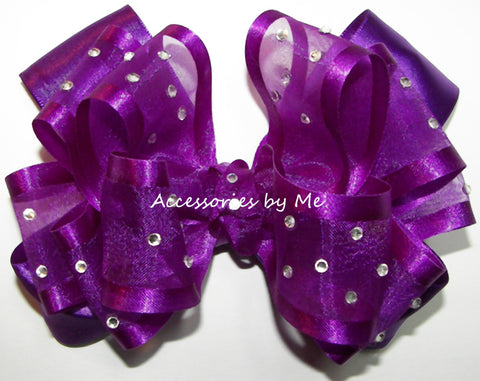High Glitz Purple Organza Satin Hair Bow