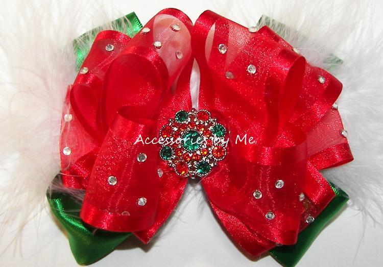 High Glitz Red Green Pageant Hair Bow