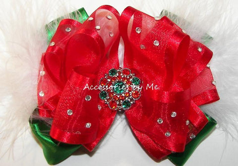 Christmas Red Green Marabou Hair Bow