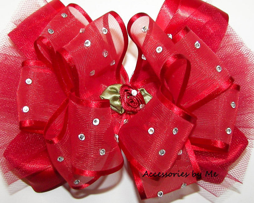 High Glitz Red Organza Tutu Hair Bow