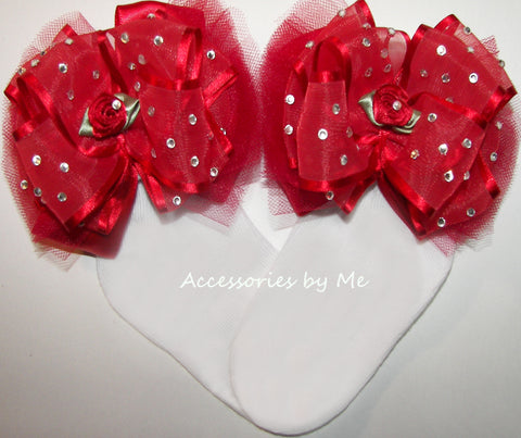 High Glitz Red Organza Tutu Floral Bow Socks