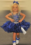Pageant High Glitzy Royal Blue Organza Marabou Hair Bow - Accessories by Me