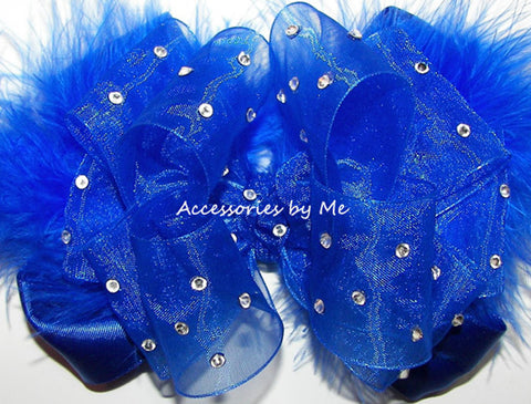 Pageant High Glitzy Royal Blue Organza Marabou Hair Bow
