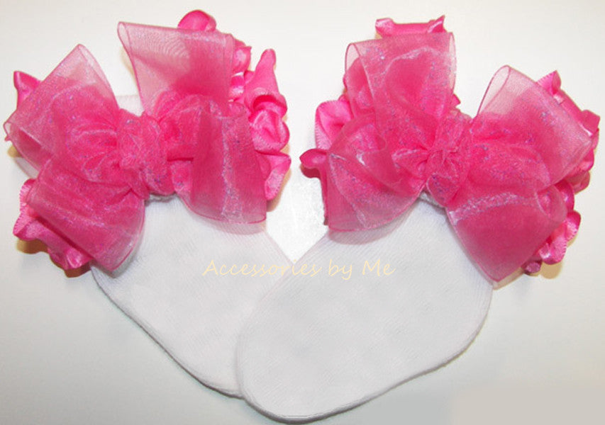Custom Color Choice Organza Ruffle Bow Socks - Accessories by Me