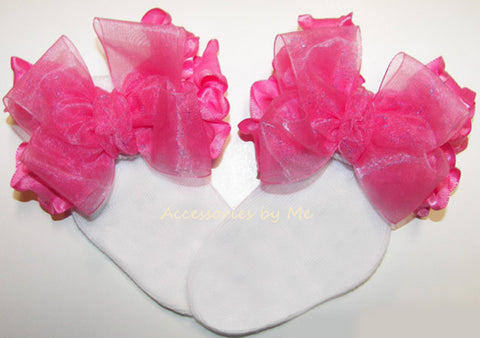 Custom Color Choice Organza Ruffle Bow Socks