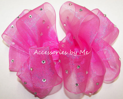 High Glitz Hot Pink Organza Hair Bow