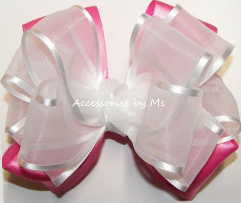 Fancy White Hot Pink Organza Satin Hair Bow - Accessories by Me