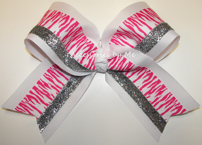 Tigers Hot Pink White Big Cheer Bow