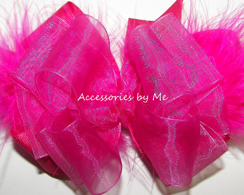 Frilly Shocking Pink Organza Marabou Hair Bow - Accessories by Me