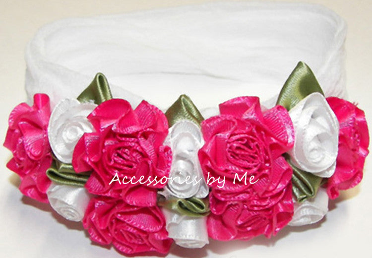 Hot Pink White Roses Floral Nylon Headband
