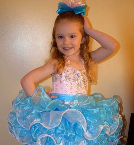 Glitzy Light Pink Turquoise Tutu Pageant Bow