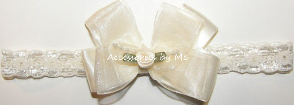 Fancy Ivory Organza Bow Lace Headband - Accessories by Me