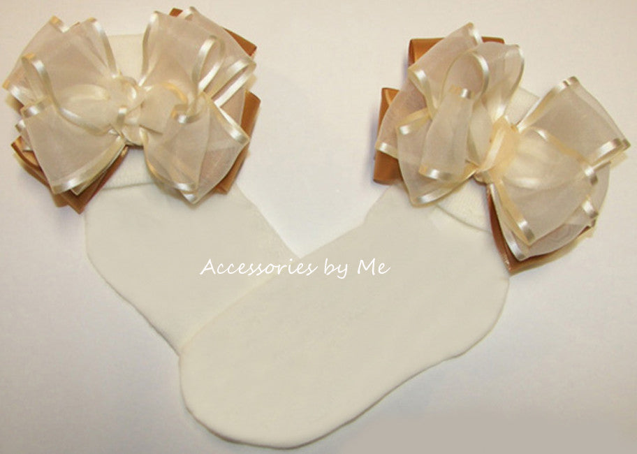 Frilly Ivory Gold Organza Satin Bow Socks for Girls - Accessories by Me