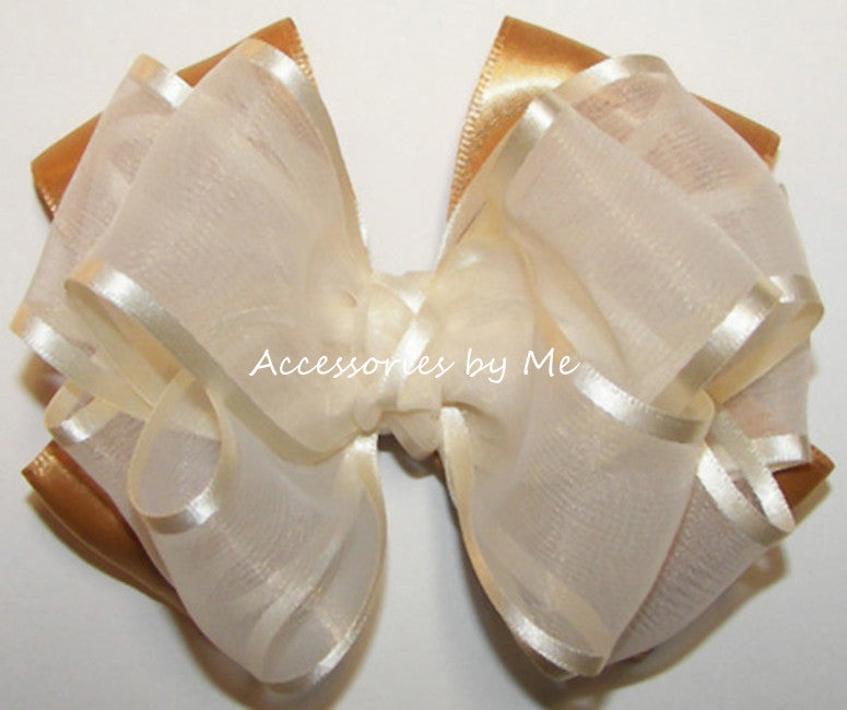 Fancy Ivory Gold Organza Satin Hair Bow - Accessories by Me