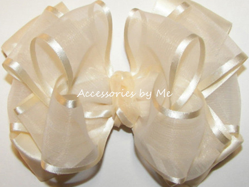 Fancy Ivory Organza Satin Hair Bow - Accessories by Me