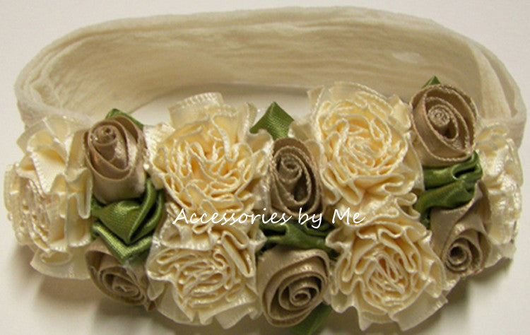 Frilly Ivory Taupe Roses Floral Nylon Headband - Accessories by Me