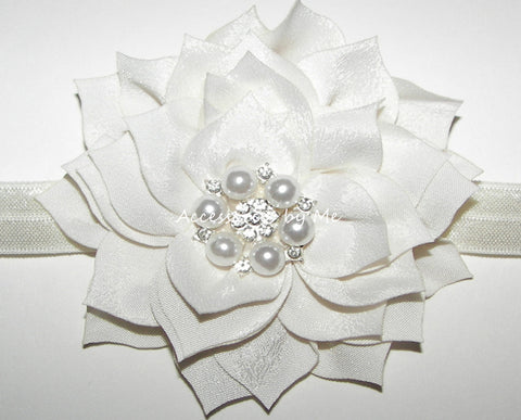 Glitzy Light Ivory Flower Headband