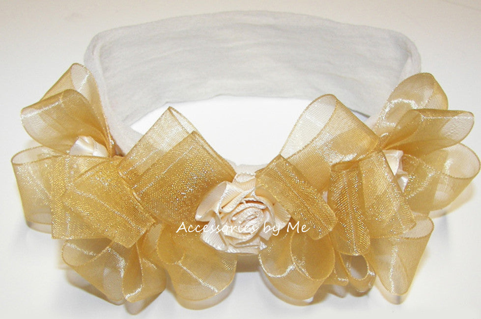Frilly Triple Ivory Gold Organza Rose Headband - Accessories by Me