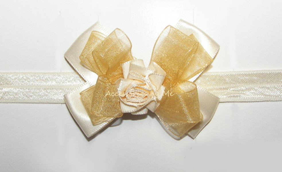 Frilly Ivory Gold Organza Rose Headband - Accessories by Me