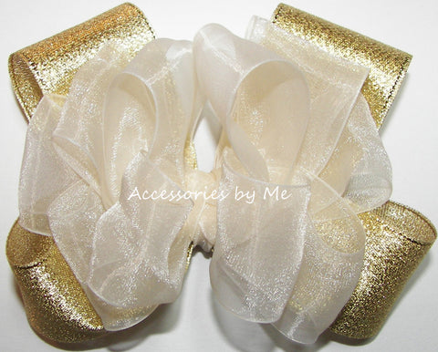 Fancy Ivory Gold Organza Lame Hair Bow