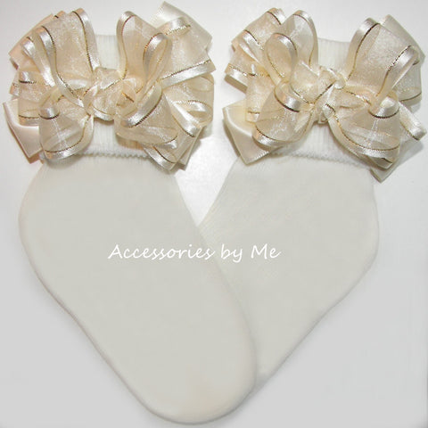 Ivory Gold Organza Satin Lame Bow Socks