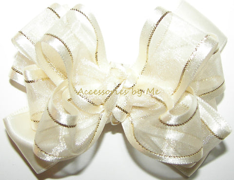 Ivory Gold Organza Satin Lame Hair Bow