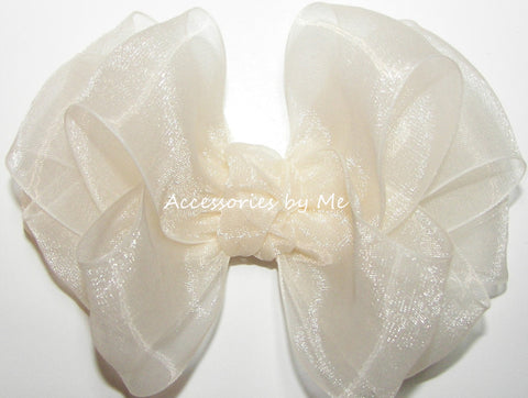 Fancy Ivory Organza Hair Bow